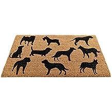 Fußmatte aus Kokos 45 x 75 cm für außen und innen | Rückseite beschichtet | hochwertige Kokosmatten als Fußmatte | verschiedene Modelle mit Print | mit beschichteter Rückseite und robuster Kokos Faser, auch für Garten, Terrasse und Balkon geeignet (Hunde)