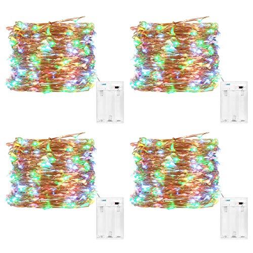 Kolpop LED Lichterkette Batterie [4 Pack], Lichterketten für Zimmer, 5m 50er Micro LED Lichterkette Draht Innen Batteriebetrieben für Party Weihnachten Halloween Hochzeit Deko (Mehrfarbig)
