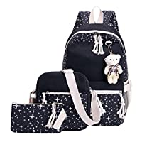 Adanina Star Prints 3Pcs Elementary School Bag Canves Casual Daypack Book Bags Travel Knapsack Bags for Primary Junior High School