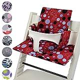 Babys-Dreams Sitzkissen Auflage Sitzkissenset für Stokke Tripp Trapp Hochstuhl *15 FARBEN* Ersatzkissen Kissen 2 teilig (Rot Blaue Punkte Katze)