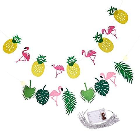sharplace 2x Sommer Ananas Flamingo Banner & Lichterkette Girlande für Kinder Kindergeburtstag (Hawaiianische Ananas)