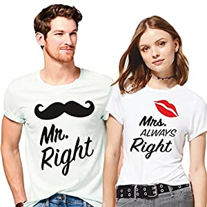 Hangout Hub Couple Men's & Women's Cotton Printed Regular Fit T-Shirts (Pack of 2) – Mr Right Mrs Always Right