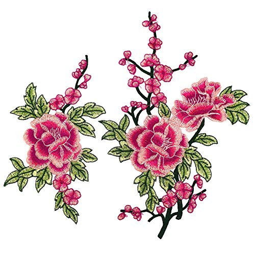 DaoRier 1 Paar Stickerei Patches Aufnäher Mode Blume Bestickte DIY Stoff Aufkleber Applikation Denim Kleidung Tuch Patch (Rose Rot) -