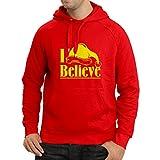 Sweatshirt à Capuche Manches Longues Je Crois le Père Noël - Citations de Noël, Tenues de Vacances (X-Large Rouge Jaune)