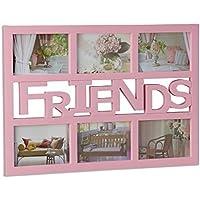 Relaxdays marco de fotos mútliple para 6 fotografías, Plástico, Color rosa, ...