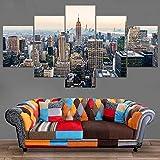 alicefen Manhattan USA 5 Unidades Ciudad de Nueva York Moderna Rascacielos Paisaje Paisaje Urbano Pintura en Lienzo Decoración para el hogar Arte de la Pared Poster-Frame