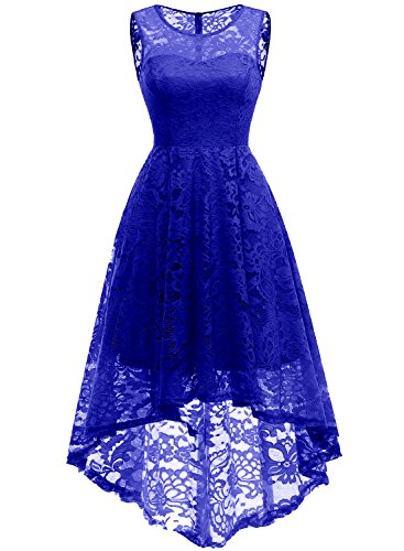 MuaDress MUA6006 Elegant Kleid aus Spitzen Damen Ärmellos Unregelmässig Cocktailkleider Party Ballkleid Royalblau XS -