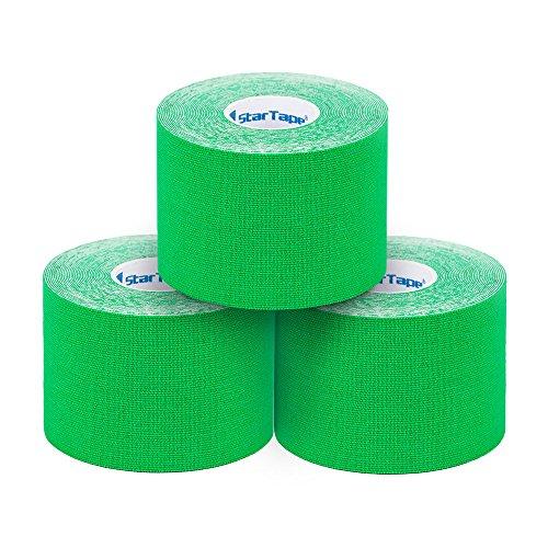 SL StarTape Kinesiologie Verband - Tape Pflaster 5 cm breit und 550 cm lang - Premium Sporttape Rolle - Sport Bandage (Grün, 3er Set)