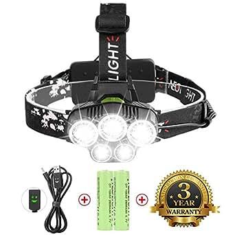 Lampe Frontale Super Puissante Avec 5 LED CREE XM-L T6, Lampe Phare 6 Modes de Luminisoté à Choisir,Parfait pour l'Escalade,le Camping, la Pêche, le Cave,le VTT,l'Exploitation de Mine (Neolight T5)