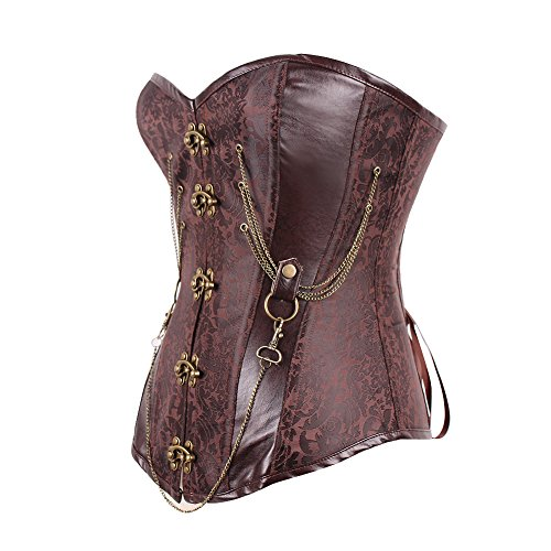 Lover-Beauty Damen Gothic Korsage unterbrust Vintage cosplay Braun Kette