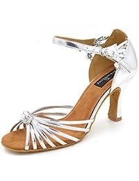 T.T-Q Zapatos de Baile de Mujer Cuero sintético Tacones de Plata Talón Principiante Sandalias Latinas Salsa Jazz...