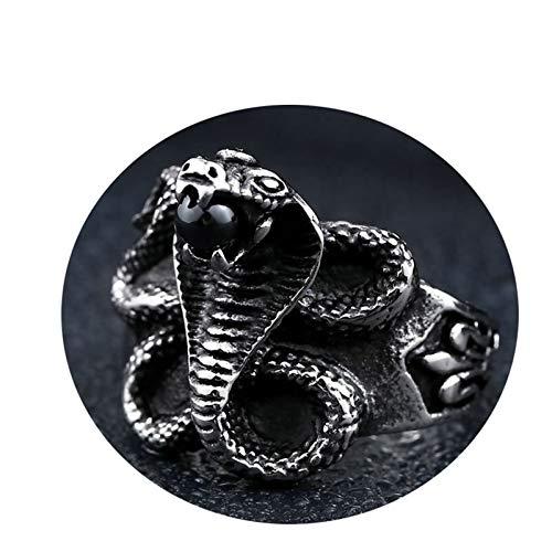 Amody Anillo Punk para Hombre Serpiente Cobra Negro Piedra Zirconia Negro Anillo de Acero Inoxidable para Hombre Tamaño 17