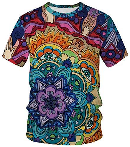 Ocean Plus Unisex Rundhals Sportswear T-Shirt Kostüm mit Aufdruck Fasching Größen S-3XL Tops mit Kurzarm (L (Referenzhöhe: 165-170 cm), Bunt Blumenrad)