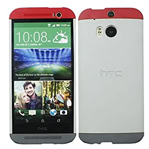 Heartly Double Dip Hard Shell Premium Back Case Cover For HTC One Max T6 8088 - Red White Grey
