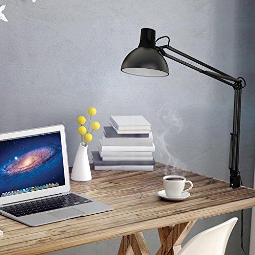 *Tischlampe LED Schreibtischlampe lesen, Schlafzimmer Nachttischlampe, Druckschalter, Nummer: TG600-S, schwarz, lange Arm Clip Lampe Nachttischlampe