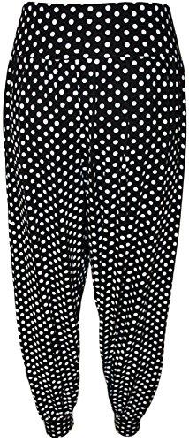 WearAll - Grande taille pantalon de harem imprimé - Pantalons - Femmes - Tailles 40 à 54 - Noir à pois
