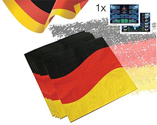 ette 3-lagig Deutschland Flagge 33 x 33 cm 3 farbig schwarz rot gelb/gold Fanartikel Dekoration Deko wm Tischdekoration Party am Tisch mit 1x Spielplan/Übersicht Stadien DIN A3 ()