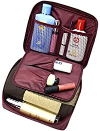 New Trends Rose Red : Floral Nylon Zipper Portable Beautician Bag Lady Waterproof Makeup Organizer Toiletry Bag...