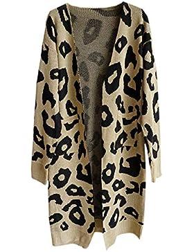 Vepodrau Mujer Leopardo De Punto Largo Cardigan Abierto Delantero Suéteres con Bolsillos