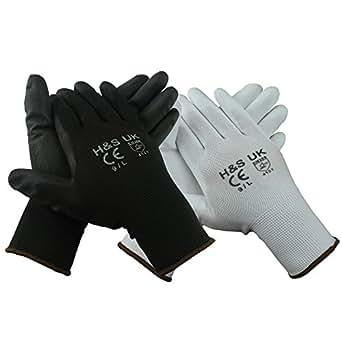 H&S® 12 Pairs High Quality Black Nylon PU Safety Work Gloves Builders Grip Gardening Black & White (10 / XL, Black)