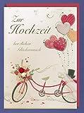 Riesen Grußkarte Hochzeit A4 Handmade Tandem Fahrrad 29x21cm