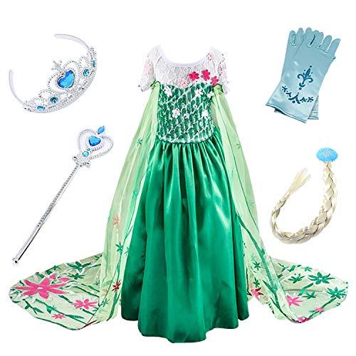 en Kostüm Eiskönigin Kinder Kleid ELSA Cosplay Prinzessin Kleid Grün Karneval Party Verkleidung Halloween Fest ()