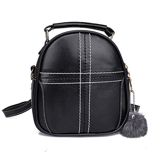 Tohole Rucksack Damen Schultertasche Waterproof Pu Leder Casual Schultasche Daypacks Kleinen Rucksack Anti-Theft Rucksack Tragetaschen(schwarz)