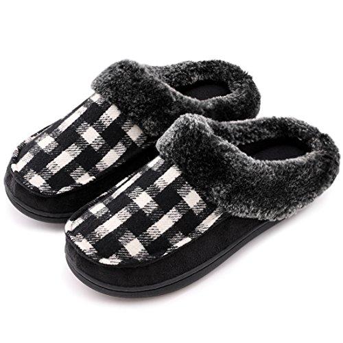 Pantuflas para interiores y exteriores, para mujer, en lana y micro gamuza, con espuma viscoelástica, color Negro, talla 36 -37 EU