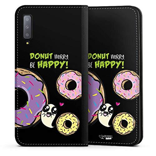 DeinDesign Leder Flip Case kompatibel mit Samsung Galaxy A7 Duos 2018 Tasche Hülle Pummeleinhorn Pummel und Freunde Donut