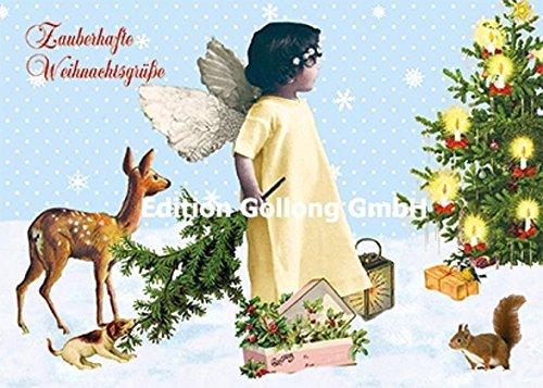 Nostalgische Weihnachtskarte Carola Pabst ~ Engel und Tiere