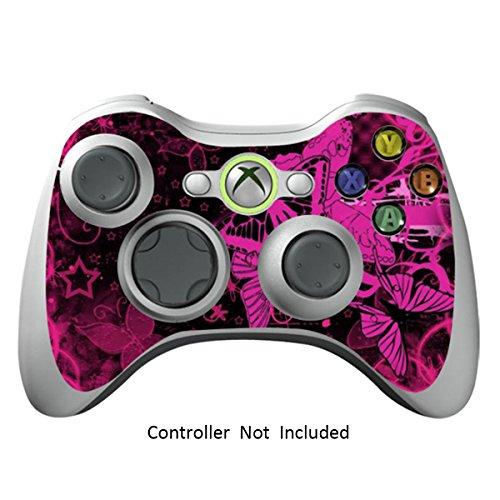 Designfolie Sticker - Vinyl Aufkleber Schutzfolie Skin für Xbox 360 Controller - Pink Butterfly ()