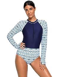Boldgal Women's Bathing Swimwear High Neck Zip One-Piece Swimsuit (Blue)
