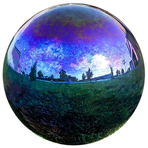 LilysHome en Verre Miroir Iron Stop Boule Multicolore Boule Boule de Jardin en Arc-en-Ciel 12 Rainbow