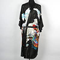 Shanghai Tone® Geisha Kimono Bath Robe Night Gown Knee-Length Black One Size by iff untoldable