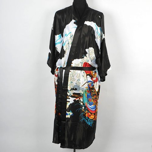 Shanghai Tone? Geisha Kimono Bath Robe Night Gown Knee-Length Black One Size by iff untoldable (Geisha Bath)