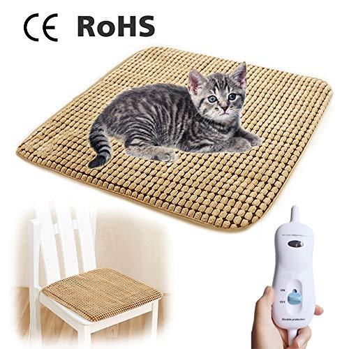 AKINA Heizmatte für Katzen und kleine Hunde Haustiere,50W Wärmematte Weich Haustier Heizkissen mit Überhitzungsschutz 9 Temperatur Einstellbar (48cm×48cm)