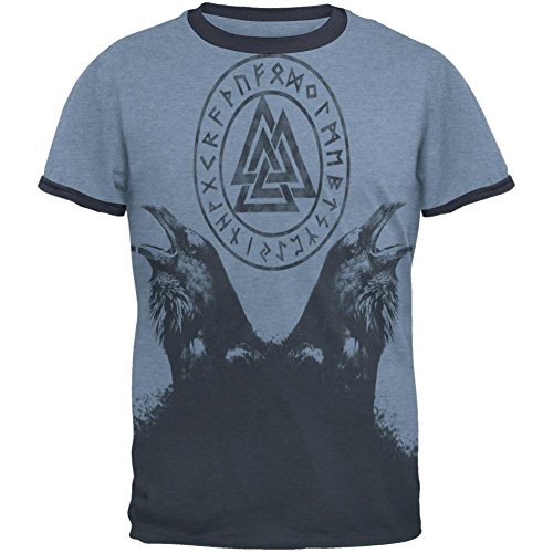 Huginn and Muninn Odin's Ravens Mens Ringer T Shirt Heather Blue-Navy MD (Mens T-shirt Ringer Heather)