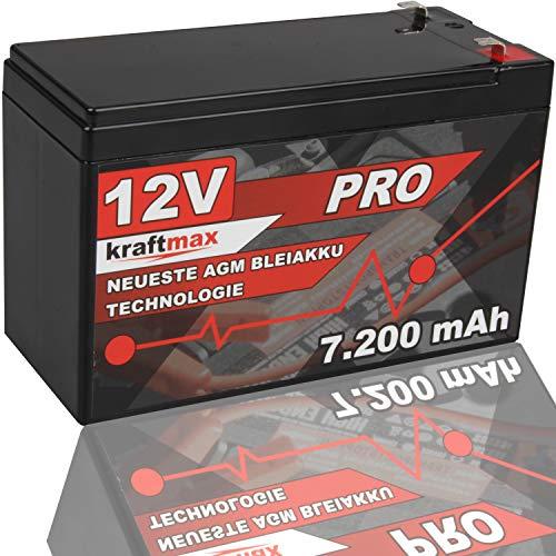 kraftmax Industrial Pro Bleiakku [ 12V / 7,2Ah ] AGM Hochleistungs- Blei Akku der Neusten Generation