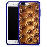 Apple iPhone 8 Plus Slim Case transparent blau Silikon Hülle Schutzhülle Leder Muster Sofa Leder Couch Look