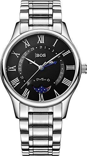 Angela Bos resistente al agua de cuarzo del negocio de los hombres de la esfera de color negro de la cintura de los relojes de banda de acero inoxidable