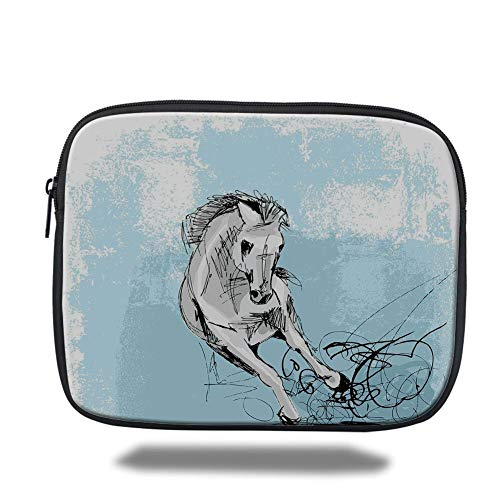 Tablet Bag for Ipad air 2/3/4/mini 9.7 inch,Horse Decor,Hand Drawn Sketch of Mare Artistic Display Freedom Speed Wildlife Decorative,Light Blue Silver Black,3D Print -