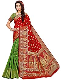 Indian Fashionista silk with blouse piece Saree (INDPeacock-Red-Green One Size)