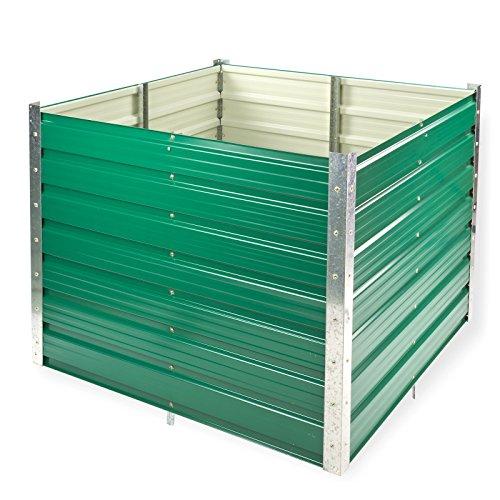 DeTec Set Metall Hochbeet Rosendaal grün 99x99x80 cm inkl. Alu Frühbeet 100×100 cm hoher UV Schutz Gute Wärmedämmung