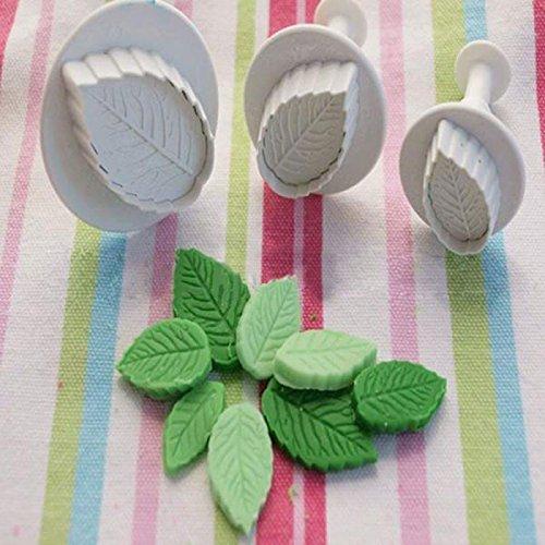 SSXY Zucker Süßigkeiten Kuchenform 3 Stücke Fondant Zuckerfertigkeit Kuchenform Backform Set - 3 Stücke Blätter -