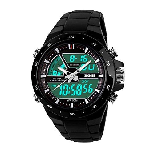 NICERIO Pantalla de LCD Digital analógico multifuncionales hombres relojes reloj resistente al agua de 50 M (negro con círculo negro)