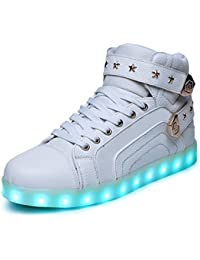 HUSK'SWARE Unisex Hombres Mujeres 7 Colores Light Up LED Zapatos Blanco Negro (EU 32, Blanco)
