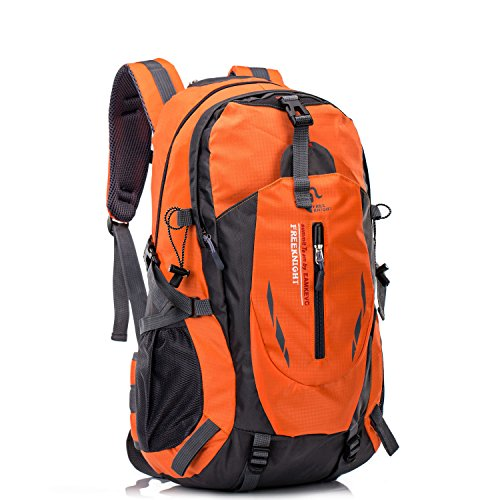 Mountaineering Backpack Lightweight Travel Hiking Climbing Waterproof Large Daypack for Outdoor Sports - Orange