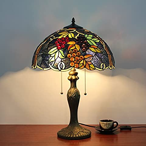 16 Inch European Creative Vintage Pastoral Sweet Grape Handmade Stained Glass Table Lamp Desk Lamp