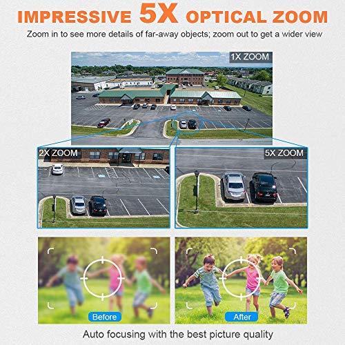 PTZ Kamera Aussen 5X Zoom WLAN IP Dome Überwachungskamera 1080P Pan 355°/ Tilt 90°, Zwei Wege Audio, APP Alarm, IR Nachtsicht, Bewegungserkennung, IP66 Wasserdicht, Fernzugriff