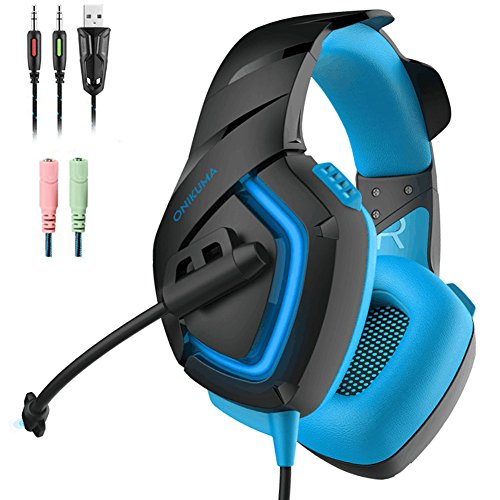 KUMA Gaming Headset Kopfhörer mit Mikrofon LED Effekt für PC PS4 Film Gaming Spielen Chat Musik. [Windows] … (Blue) (Blues Musik Hat)